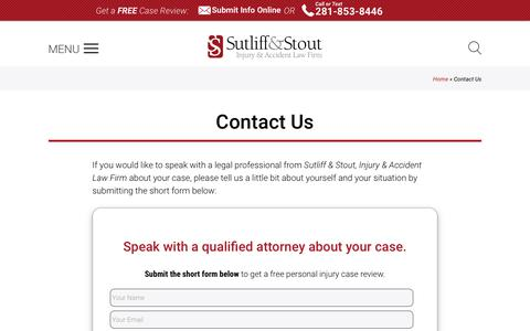 Screenshot of Contact Page sutliffstout.com - Contact Us [Sutliff & Stout, Injury & Accident Law Firm ] - captured Sept. 23, 2019