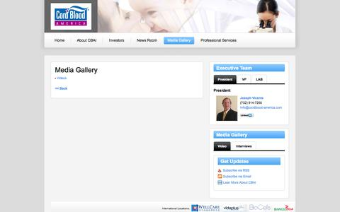 Screenshot of Press Page cordblood-america.com - Cordblood America, Inc. Interviews and Videos - Cordblood Registry Media Gallery - captured Sept. 30, 2014