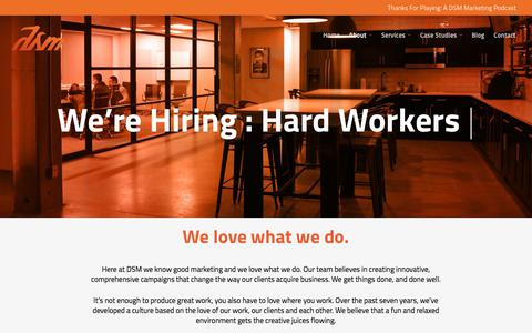 Screenshot of Jobs Page thedsmgroup.com - DSM: Marketing, Design, Account Management Careers in NJ - captured Aug. 17, 2018