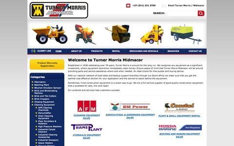 Screenshot of Home Page turnermorris.co.za - Welcome to Turner Morris Midmacor | Turner Morris - Construction equipment supplier to the industry - Sales, Hire and Repair - captured Oct. 7, 2014