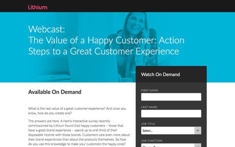 Screenshot of Landing Page lithium.com - The Value of a Happy Customer: Action Steps to a Great Customer Experience - captured Aug. 8, 2018