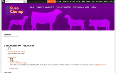 Screenshot of Products Page surechamp.com - Products | Sure Champ - captured June 27, 2016