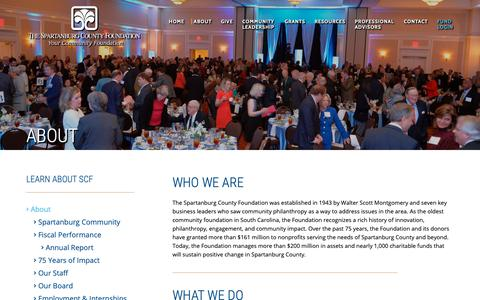 Screenshot of About Page spcf.org - About the Foundation - SCF | Spartanburg County Foundation - captured Oct. 18, 2018