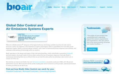 Screenshot of Home Page bioairsolutions.com - BioAir Solutions, LLC | municipal odor control • odor control for municipalities and industry - captured Oct. 10, 2017