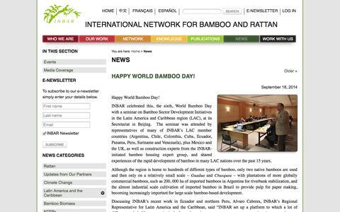 Screenshot of Press Page inbar.int - News - INBAR - captured Oct. 6, 2014