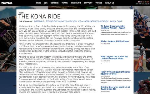 Screenshot of Support Page konaworld.com - KONA BIKES | TECH | THE KONA RIDE - captured Oct. 30, 2014