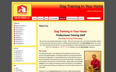 Screenshot of About Page obedientpaws.com - Dog Training Troy - About Dog Training In Your Home - captured Oct. 1, 2014