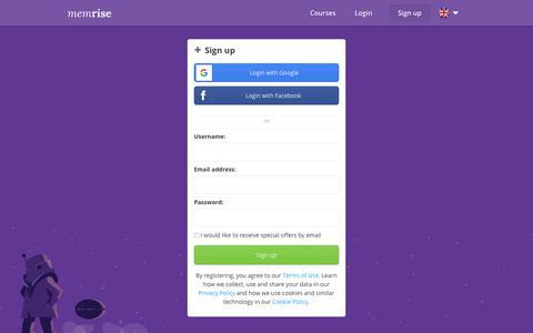 Screenshot of Signup Page memrise.com - Memrise - Sign up - captured June 5, 2018