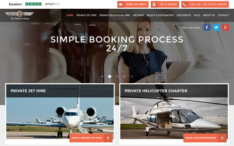 Screenshot of Home Page charter-a.com - Charter-A Ltd: Luxury Private Flights for Business & Pleasure - captured Aug. 15, 2015