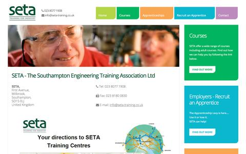 Screenshot of Contact Page Maps & Directions Page setatraining.co.uk - SETA - Training for Industry - Engineering Apprenticeships - CONTACT US - captured Sept. 29, 2017