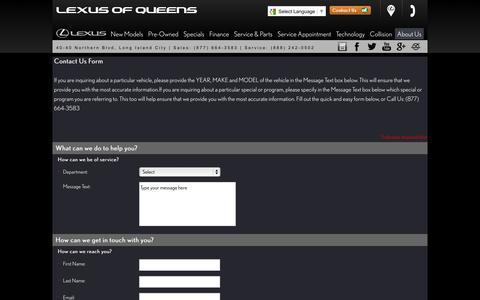 Screenshot of Contact Page lexusofqueens.com - Lexus of Queens – Long Island City, Lexus dealership – contact info, phone number, email address - captured Sept. 30, 2014