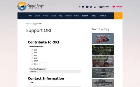Screenshot of Support Page oceanriver.org - Support ORI | Ocean River Institute - captured Oct. 27, 2014