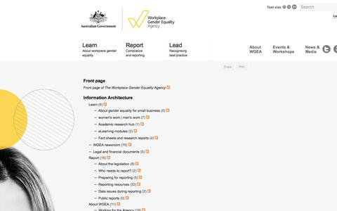 Screenshot of Site Map Page wgea.gov.au - Sitemap | The Workplace Gender Equality Agency - captured Oct. 27, 2017