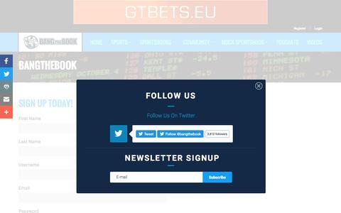 Screenshot of Signup Page bangthebook.com - Register & Login at BangTheBook.com - captured Nov. 22, 2016