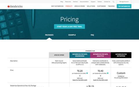 Screenshot of Pricing Page databricks.com - Databricks Plans and Pricing - captured April 14, 2017
