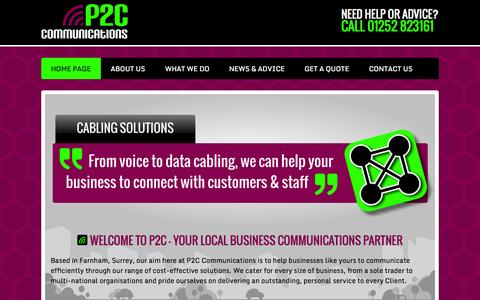 Screenshot of Home Page p2c-communications.com - P2C of Farnham, Surrey | Small Business Communications - captured Oct. 1, 2014