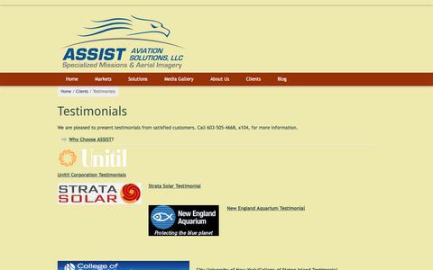 Screenshot of Testimonials Page assistaviationsolutions.com - Testimonials | ASSIST Aviation Solutions, LLC - captured Oct. 7, 2017