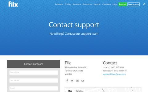 Screenshot of Support Page fiixsoftware.com - Contact Support   Fiix - captured Oct. 26, 2018