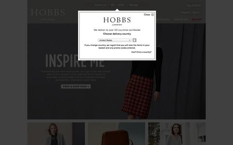 Screenshot of Home Page hobbs.co.uk - British Fashion for Women | Hobbs - captured Sept. 19, 2014