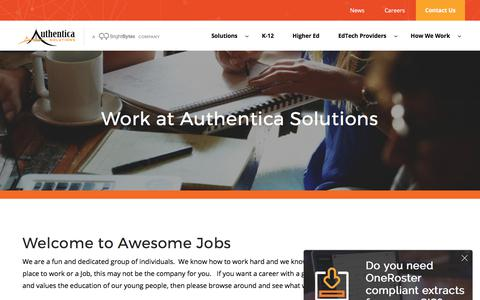 Screenshot of Jobs Page authenticasolutions.com - Work at Authentica Solutions - Current Job Openings - captured Oct. 9, 2017