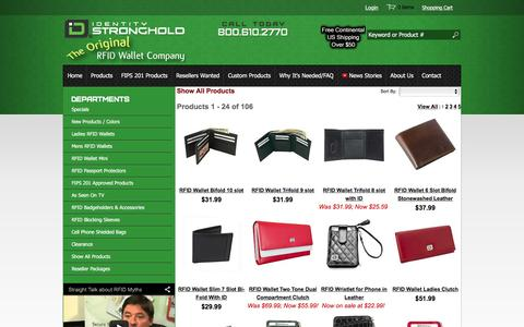 Screenshot of Products Page idstronghold.com - RFID Wallets | Wallets and Sleeves | Identity Stronghold - captured Feb. 10, 2016
