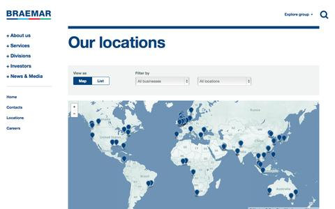 Screenshot of Locations Page braemar.com - Locations | Braemar Shipping Services PLC - captured Nov. 3, 2014