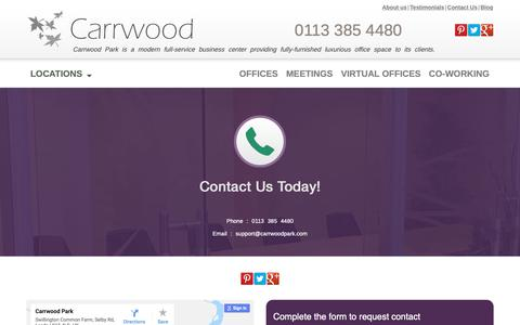 Screenshot of Contact Page carrwoodpark.com - Contact us for all your business needs! - captured Sept. 27, 2018