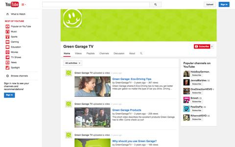 Screenshot of YouTube Page youtube.com - Green Garage TV  - YouTube - captured Oct. 22, 2014