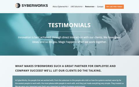 Screenshot of Testimonials Page syberworks.com - Testimonials - Syberworks, Inc. - captured Sept. 21, 2018