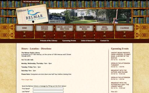 Screenshot of Contact Page Hours Page belmarlibrary.org - Belmar Public Library | Hours – Location – Directions - captured April 8, 2016