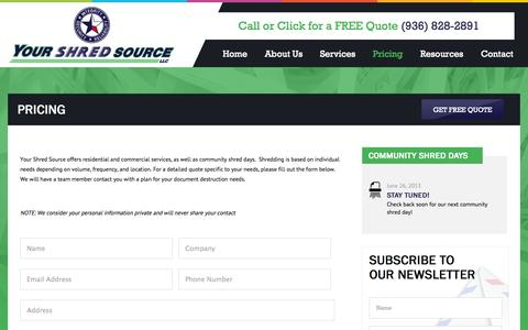 Screenshot of Pricing Page yourshredsource.com - Pricing | Your Shred Source - captured Oct. 27, 2014