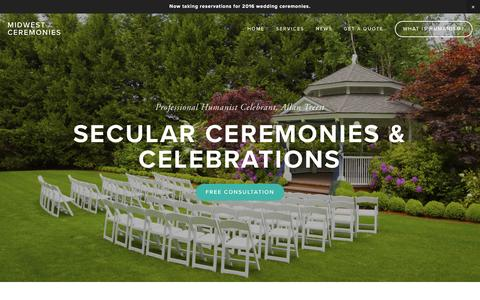 Screenshot of Home Page midwestceremonies.com - Midwest CeremoniesMidwest Ceremonies - captured Jan. 10, 2016