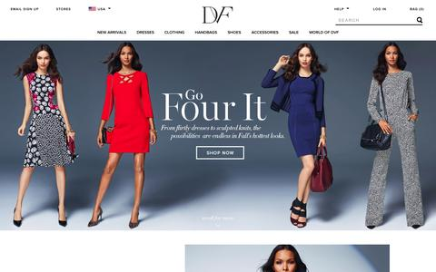 Screenshot of Home Page dvf.com - DVF – Shop Diane von Furstenberg's Wrap Dresses, Handbags, and Accessories - captured Sept. 18, 2014