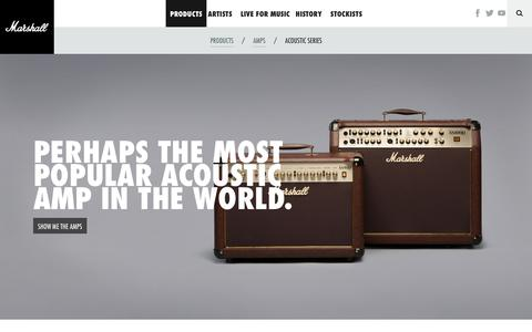 Screenshot of Home Page marshallamps.com - Marshall Amplification | Guitar Amplifiers | Live for Music - captured Sept. 25, 2014