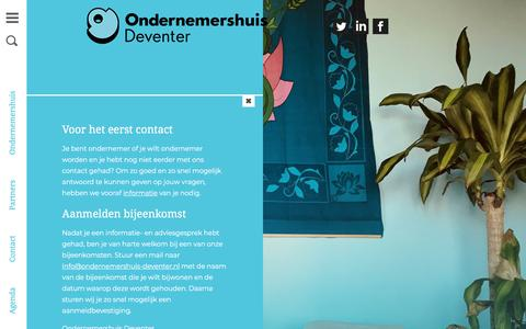 Screenshot of Contact Page ondernemershuis-deventer.nl - Contact | Ondernemershuis Deventer - captured Sept. 20, 2018