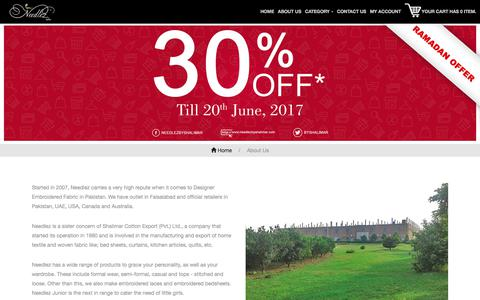 Screenshot of About Page needlezbyshalimar.com - Needlez by Shalimar :: Designer Embroidered Fabric in Pakistan : About Us - captured June 16, 2017
