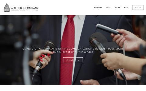 Screenshot of About Page wallerandcompany.com - About Waller & Company Personal Branding Consulting PR Washington DC Ń Waller & Company | Personal Branding | Online Presence Strategy - Public Relations - Crisis Management | Washington DC - captured Jan. 10, 2016