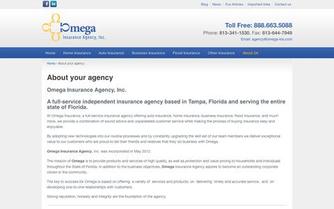 Screenshot of About Page omega-ins.com - About Us | Tampa Insurance Agency | Tampa Insurance Agent - captured Nov. 10, 2017