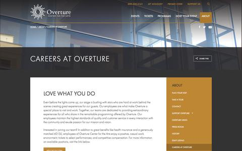 Screenshot of Jobs Page overturecenter.org - About   Overture Center - captured Oct. 10, 2014
