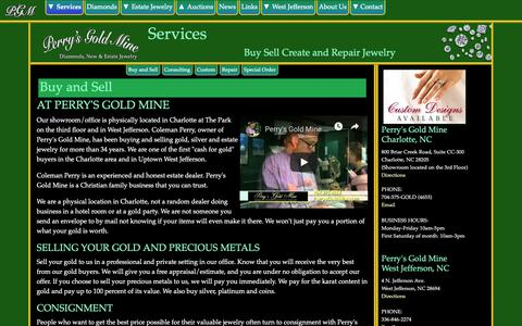 Screenshot of Services Page perrysgoldmine.com - Services : 		Perry's Gold Mine, Charlotte, North Carolina - captured Nov. 4, 2018