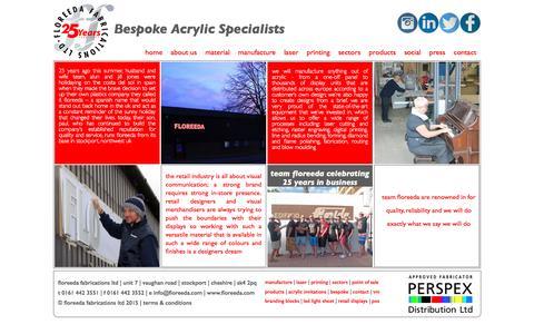 Screenshot of About Page floreeda.com - Floreeda Fabrications Ltd Bespoke Acrylic Specialists - captured Feb. 10, 2016