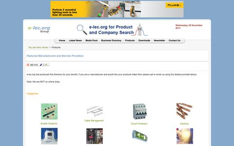 Screenshot of Products Page e-lec.org - The Electrical Industry Product Directory - Electrical Industry Installation News and Information Portal: e-lec.org - captured Nov. 5, 2014