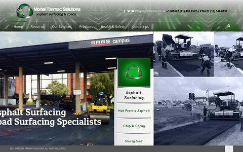 Screenshot of Home Page morieltarmac.co.za - TARMAC SOLUTIONS asphalt surfacES ROAD MARKING driveway paving TARMAC REHABILITATION - captured Sept. 4, 2015