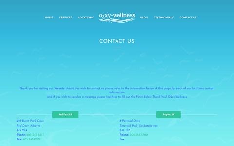 Screenshot of Contact Page o2xy-wellness.com - Our phone number 4033470277 address 293 Burnt Park Drive, Red Deer County AB across Laebon homes | Oxy Wellness - captured Oct. 24, 2018
