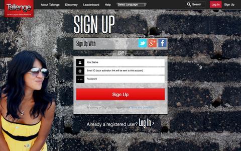 Screenshot of Signup Page tallenge.com - Tallenge - Log In - captured Nov. 11, 2015
