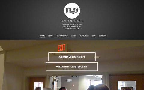 Screenshot of Home Page newsongumc.org - Home - captured July 1, 2018