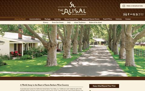 Screenshot of Home Page alisal.com captured Jan. 15, 2016