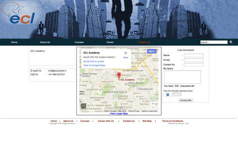 Screenshot of Contact Page Site Map Page eclonline.in - ECL-:-Contact us - captured Oct. 22, 2014