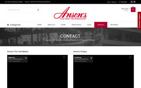 Screenshot of Contact Page ansons.ph - Contact Us | Anson's - captured Jan. 20, 2016