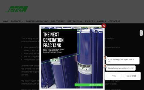 Screenshot of Privacy Page etctank.com - Privacy Policy - Environmental Tank and Container - captured Nov. 10, 2018